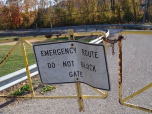 Photo of the gate closing off the Institute community's evacuation route. By Maya Nye, 11/08